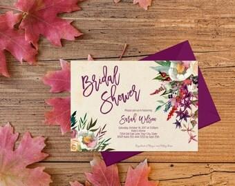 Bohemian Bridal Shower Invitation Printable Boho Bridal Shower Invite Purple Bridal Shower Invite Fall Bridal Shower Burgundy Floral 287
