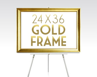24 x 36 Large GOLD FRAME . Solid Maple Wood Rose Gold Wedding Silver White Black Rustic Pine Ready to Hang Hardware . Sizes 5 x 7 to 30 x 40