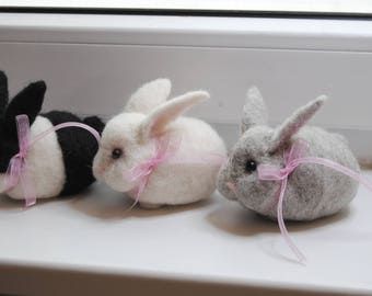 Needle Felted Rabbit, Handmade Bunny;  White, Grey or Black & White Bunny, Easter Decoration, Christmas Stocking Filler - READY TO SHIP