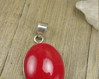 Vintage Sterling Silver Red Coral Stone Pendant