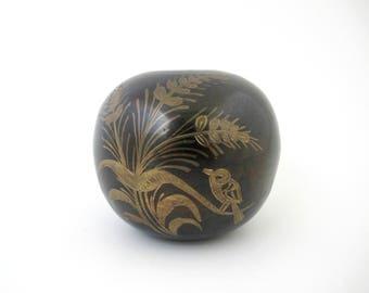 Vintage Brass Accent Vase, India Brass Decor
