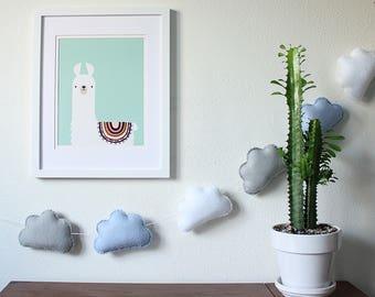 Cloud Garland, Felt Cloud Garland, Nursery Decor, Kids Room Decor, Cloud Decor, Cloud Bunting