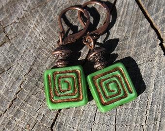 Green Earrings Dangle Earrings Drop Earrings Czech Glass Earrings Copper Earrings Boho Chic Earrings Small Earrings Birthday Gift for women