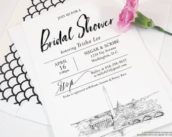 Washington, D.C. Skyline Bridal Shower Invitations, Memorials, DC Wedding, Bridal Brunch, Bridal Luncheon (set of 25 cards & envelopes)