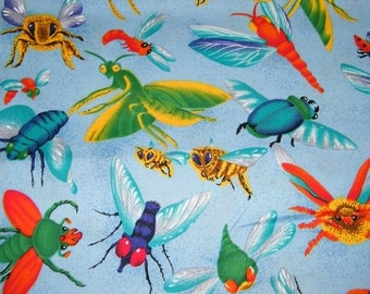BTY BUZZIN BY Large Bugs on Blue Print 100% Cotton Quilt Crafting Fabric by the Yard