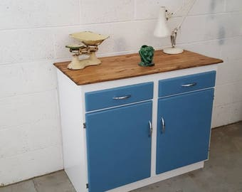 Beautiful restored 1950s kitchen cupboard with reclaimed wooden top