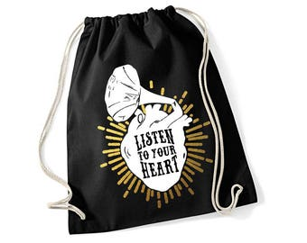 Gym Bag *Gold* LISTEN to YOUR HEART Screen Print
