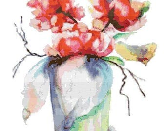 Flowerpot watercolor Cross Stitch Pattern Watercolor pattern needlepoint needlecraft -170x200 stitches- INSTANT Download - B1486