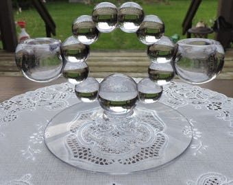 Vintage Imperial CANDLEWICK Double Glass Candle Holder