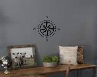 Compass Rose decal, FREE SHIPPING, White vinyl decal, Wall Decal, Wall sticker, compass, sailing, home office decor #142
