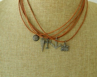 Leather necklace with pave diamond disc charm, leather jewelry, choker necklace, beach boho, festival chic, greek leather, boho chic