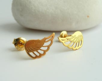 Angel Wings Stud Earrings, Sterling Silver Stud Earrings, Angel  Wings Earrings, Guardian Earrings, 925 silver jewelry