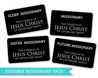 Missionary Tags - LDS PRINTABLE Digital Boys Girls Future Sister Elder Primary Young Women Fhe Family Home Evening Activity Days Party Decor