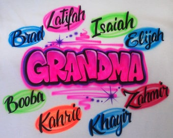 Airbrushed Grandma Granny Design Custom * Baby Bodysuit * T-shirt * Hooded Sweatshirt * Hoodie * Pillowcase *  Your Name