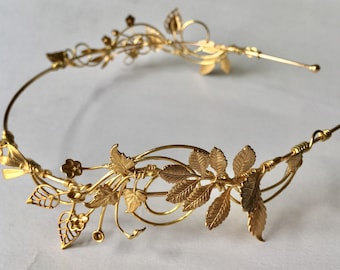 The TITANIA LEAF Crown - Edwardian Vintage Leaves Foliage Tiara Headband. Floral, Elegant, Bohemian. Bride, Bridesmaid, Prom Wreath