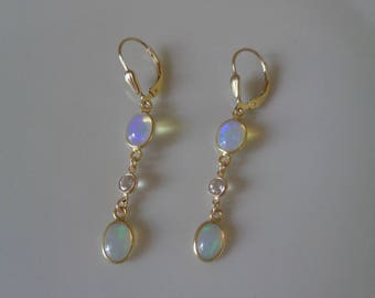 Opal earrings, 585 gold filled and gold 585, with white Topaz
