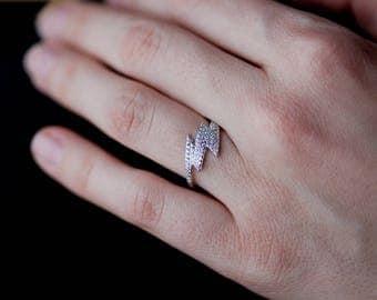 Sterling Silver Lightning ring, Lightning Bolt Modern Ring, Clover Ring, Thunderbolt Ring, Modern Ring, Silver CZ Ring,