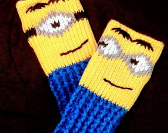 Fingerless Gloves Wrist Warmers Minions Adult Sizes