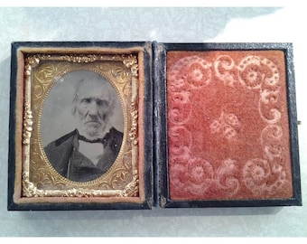 Antique 19th Century Ambrotype Photograph in Nice Case Scary Old Business Man. I would say very good for its age but Please check out the pi