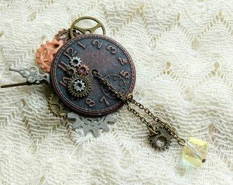 Steampunk ClockFace Brooch