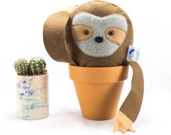Sloth animal, sloth decoration, Felt sloth, sloth in a pot, sloth gift