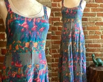 Vintage Hawaiian Rainbow Jo, Maui Hawaii Tropical Fish Print Beach Dress, Size Small, 80's 90's Vintage Natural Rayon Dress