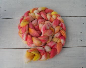 Handdyed merino roving top 4.2 oz (120 gr) for spinning, felting, weaving