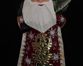 RUSSIAN WOODEN SANTA Hand Caved and Painted w/Bag on the Back and XTree in Hand #1042