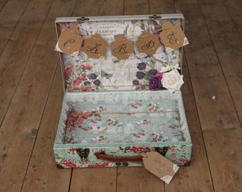 Large Love birds wedding card suitcase.
