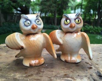 Vintage Owl Salt and Pepper Shakers Vintage Kitchen Collectible Salt Shakers Owl Decor