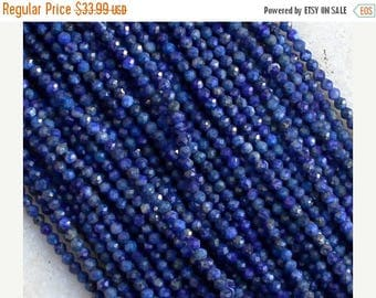 80% SALE Lapis Lazuli Beads  Full Strands AAA 2.5mm Natural Stone 13 inches length Finest Quality Diamond Cut Rounds Faceted wholesale GQB