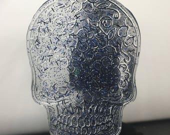 Blue glitter sugar skull earrings