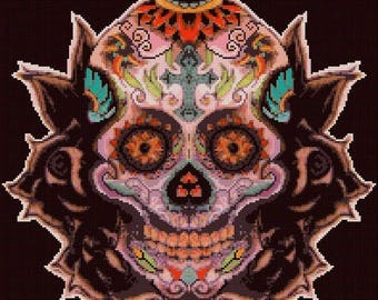"sugar skull Counted Cross Stitch sugar skull Pattern pdf file ristipisto kuvio needlepoint korss - 14.07"" x 13.07"" - L1106"