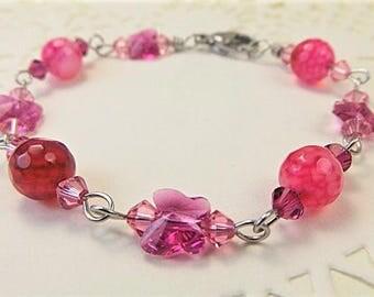 Pink Bracelet, Pink Agate Bracelet, Pink Crystal Bracelet, Agate Bracelet, Butterfly Bracelet, Crystal Butterfly Bracelet, Stainless Steel