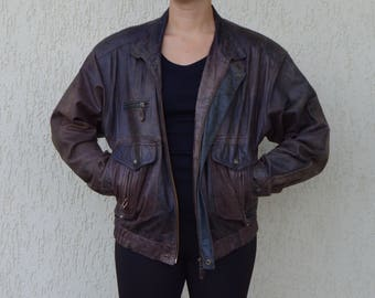 Vintage Brown Leather Jacket Mens Leather Bomber Jacket 90s Zip Up Aviator Leather Jacket Classic Blazer Original Rocky Western Blazer