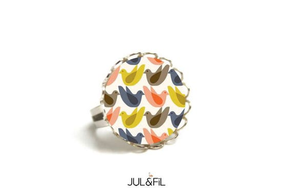 Geometric vintage seventies bird, Scandinavian, minimalist, adjustable brass ring