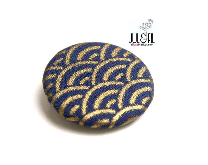 Japanese fabric brooch gold blue precious sengaiha