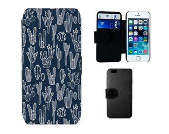 Wallet case Samsung Galaxy S8 Plus, S7 S6 Edge, S4 S5 Mini, iPhone SE 6 6S X 8 7, Plus, 5S 5C 5 4S, cactus cacti flip phone cover. F379