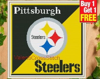 BOGO FREE! Pittsburgh Steelers Cross Stitch Pattern, Instant Download, nfl, Sport, Counted Cross Stitch Pattern, pdf, Modern, #SP 236