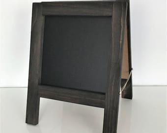 "Mini Table Top Chalkboard Sandwich Board   A-Frame   Double-Sided   Custom Stain Options   12"" x 12""   Chalk Marker Compatible"