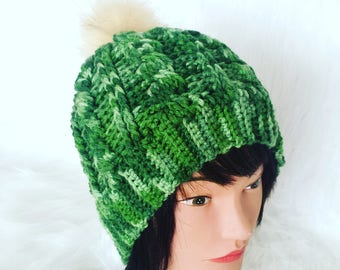 CABLE POMPOM BEANIE winter woman's accessory, trendy comfy hat, green soft and stretchy hat gift for her