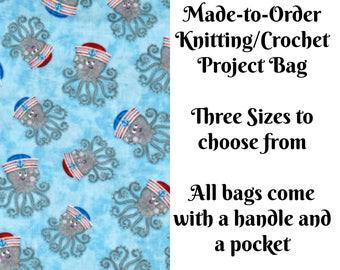 Anchors Away Octopus in Light Blue, Knitting Project Bag, Crochet Bag, Cross Stitch, Zippered Bag, Knitting Organizer