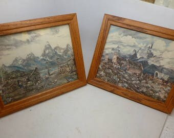 Pair of Vintage Lithographs of Rocky Mountain Frontier Watercolor Painting - Frontier Painting - Settler Painting - Rocky Mountains
