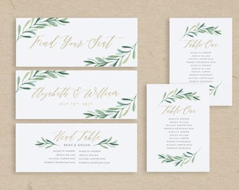 Greenery Wedding Seating Chart Template • Seating Plan • Seating Cards • Table Numbers • Word or Pages • MAC or PC