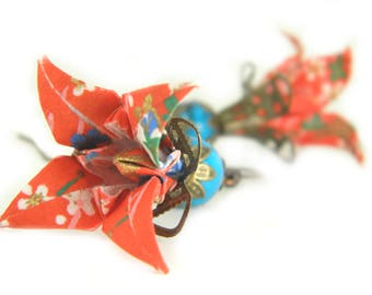 Origami earring Iris ( flower )
