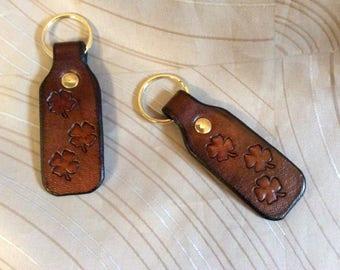 Shamrock key fob, leather Shamrock key fob,keychain, leather key chain,four leaf clover key chain, stamped keyfob,handmade key holder,clover