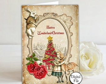 A6 Alice in Wonderland Christmas Card - Printable,Digital,printable card, print your own Christmas card, Christmas wishes, greeting card