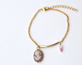 Cameo, gold plated bracelet