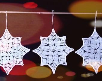 Set of 3 LARGE white (19cm) Christmas ornaments stars snowflakes handmade tree garland new home window crochet decoration Xmas holiday UK