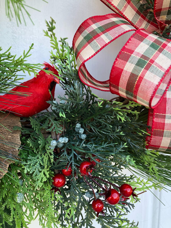 Red Cardinal Wreath Woodland Christmas Wreath Rustic